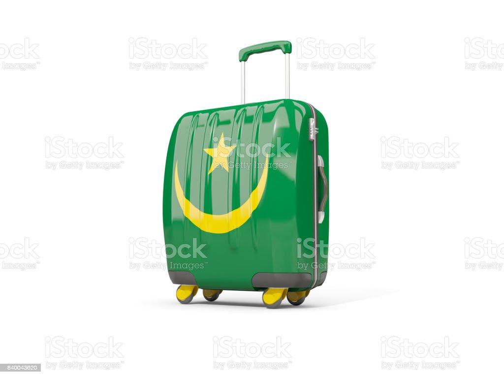 Luggage with flag of mauritania. Suitcase isolated on white stock photo