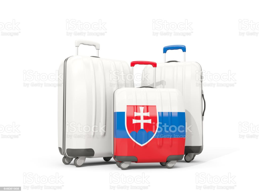 Luggage with flag of slovakia. Three bags isolated on white stock photo