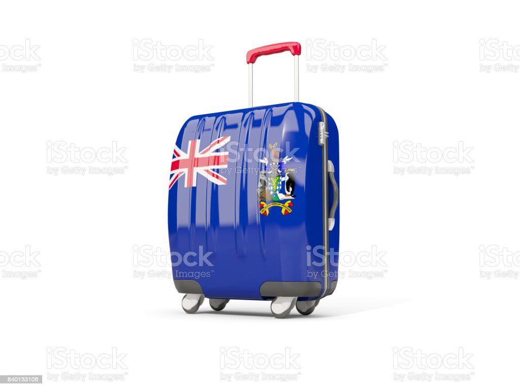 Luggage with flag of south georgia and the south sandwich islands. Suitcase isolated on white stock photo