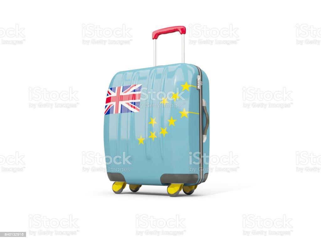 Luggage with flag of tuvalu. Suitcase isolated on white stock photo