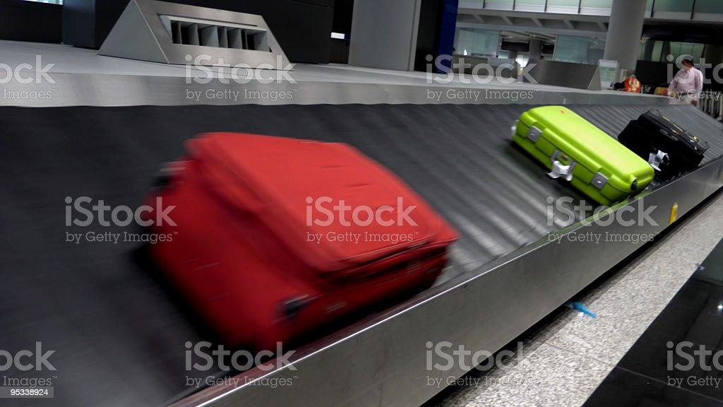 Luggages moving on babbage belt royalty-free stock photo