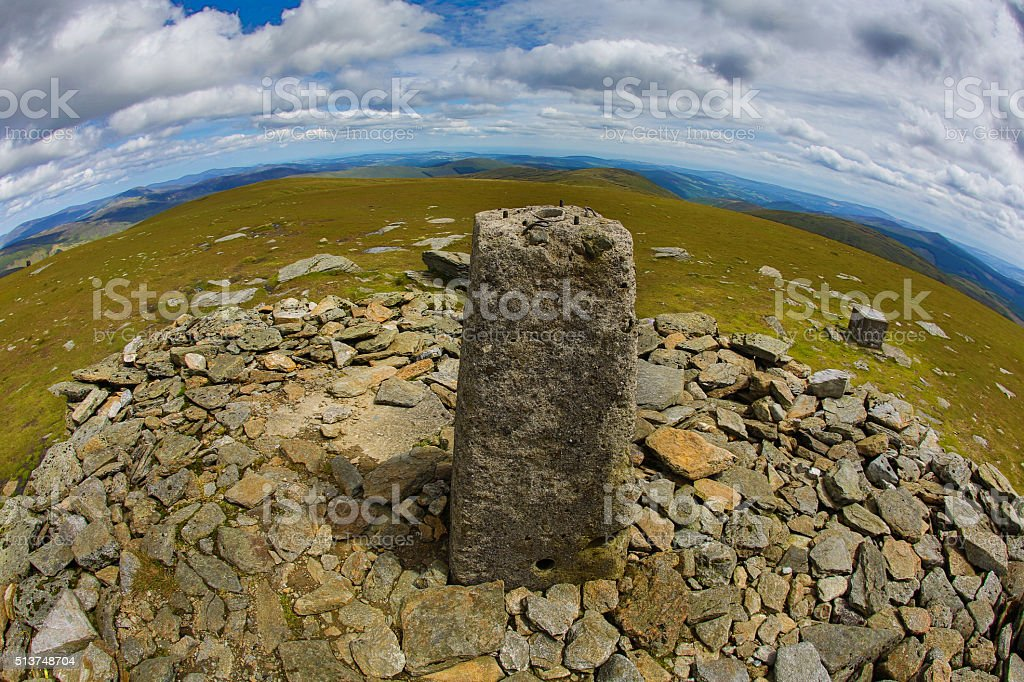 Lugnaquilla summit - highest peak of the Wicklow Mountains stock photo