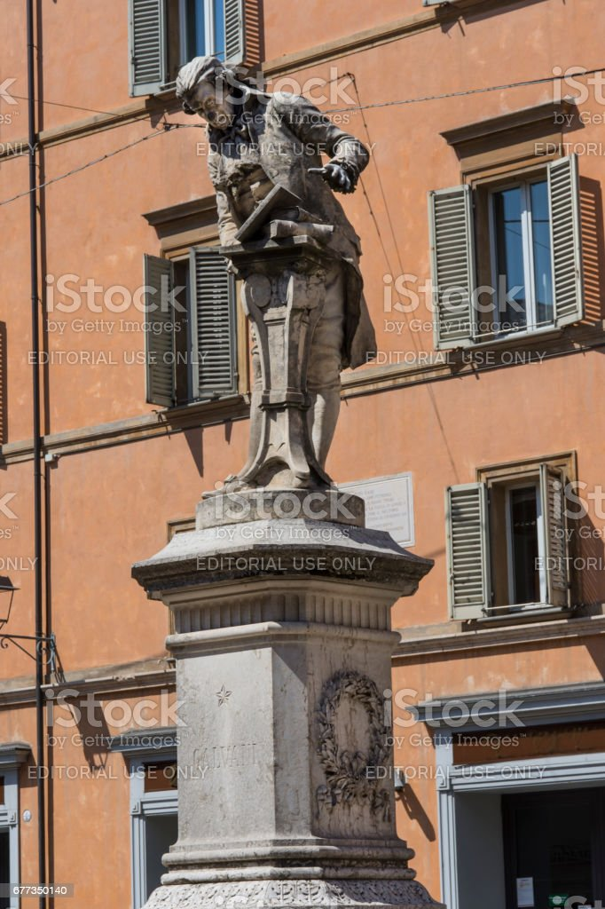 Luigi Galvani statue in Bologna stock photo