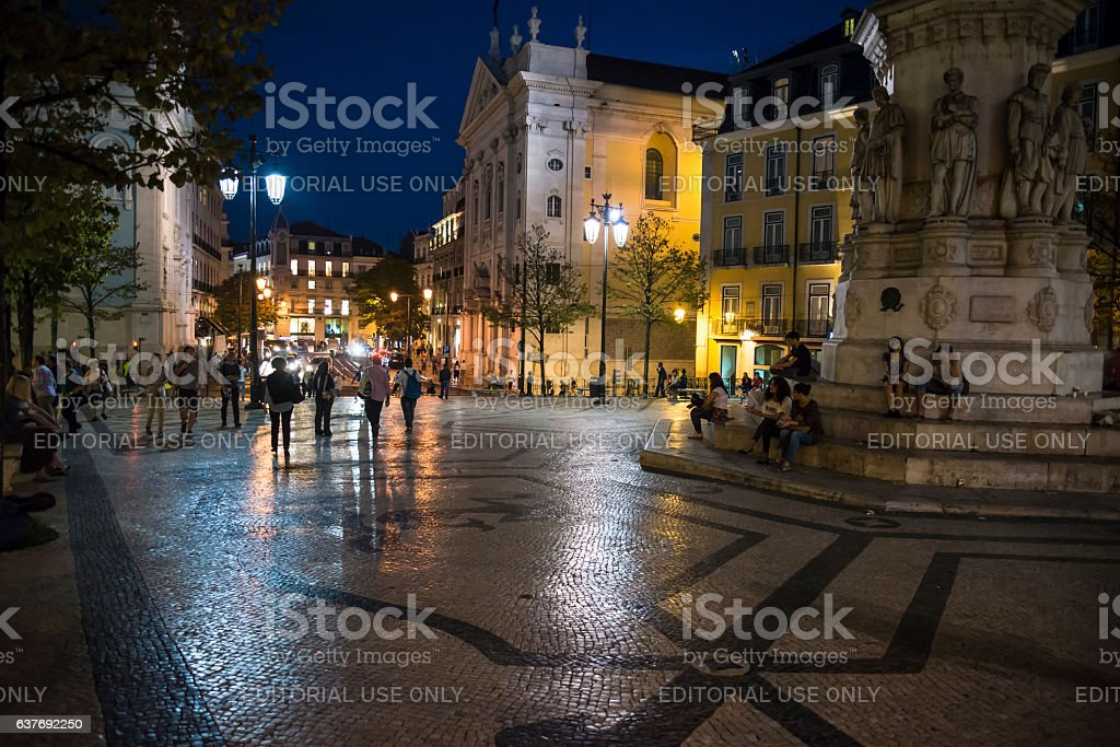 Luis de Camoes Square at night, Lisbon, Portugal stock photo