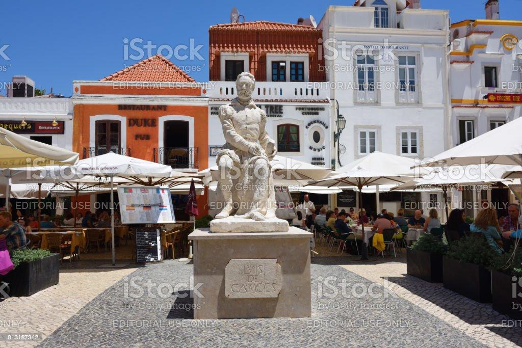 Luis Vaz de Camoens  statue in Cascais, Portugal stock photo