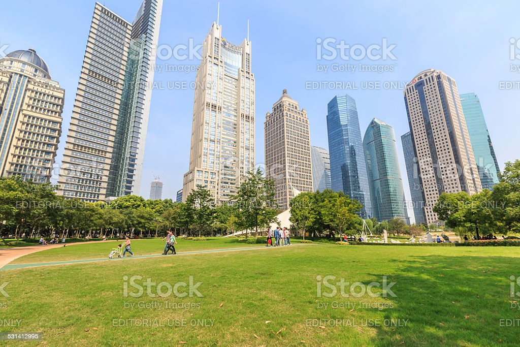 €' lujiazui central green space park  in Shanghai stock photo