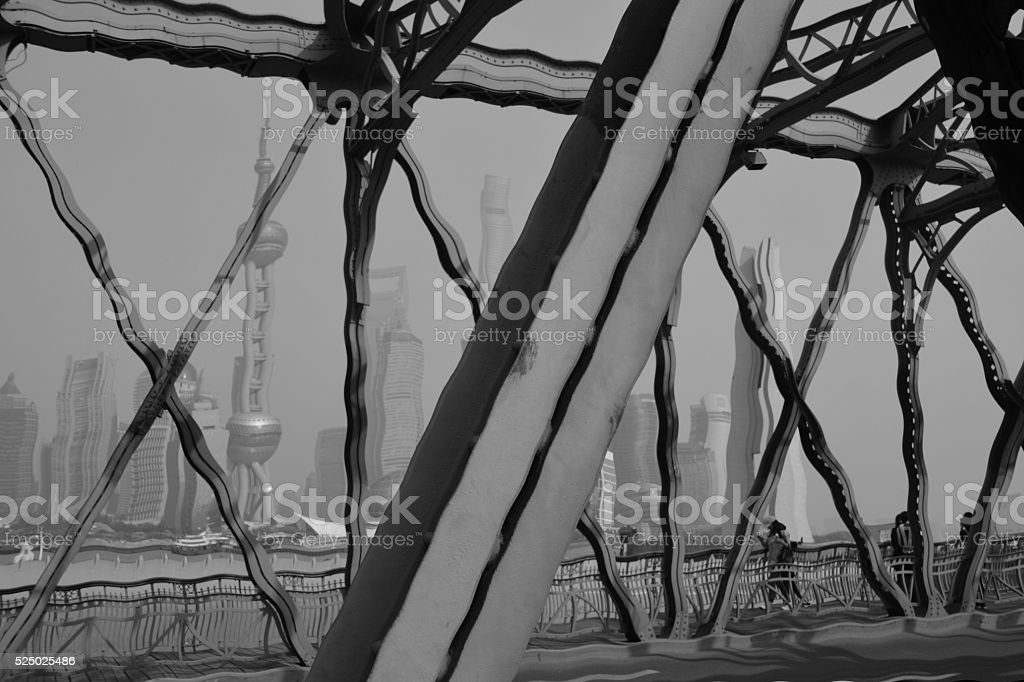Lujiazui distorted skyline from Garden bridge, Shanghai, China stock photo