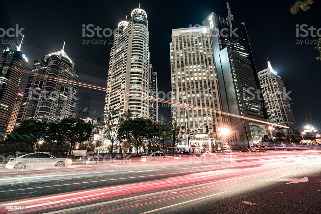 Lujiazui Financial centre in the night stock photo