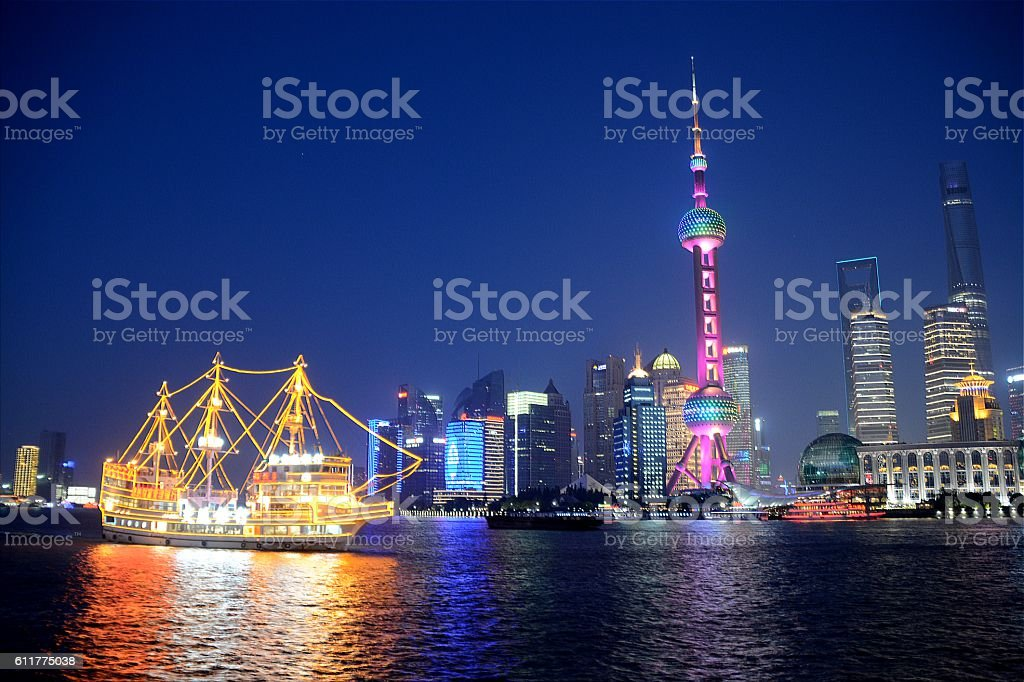 Lujiazui flashing skyline, Shanghai stock photo