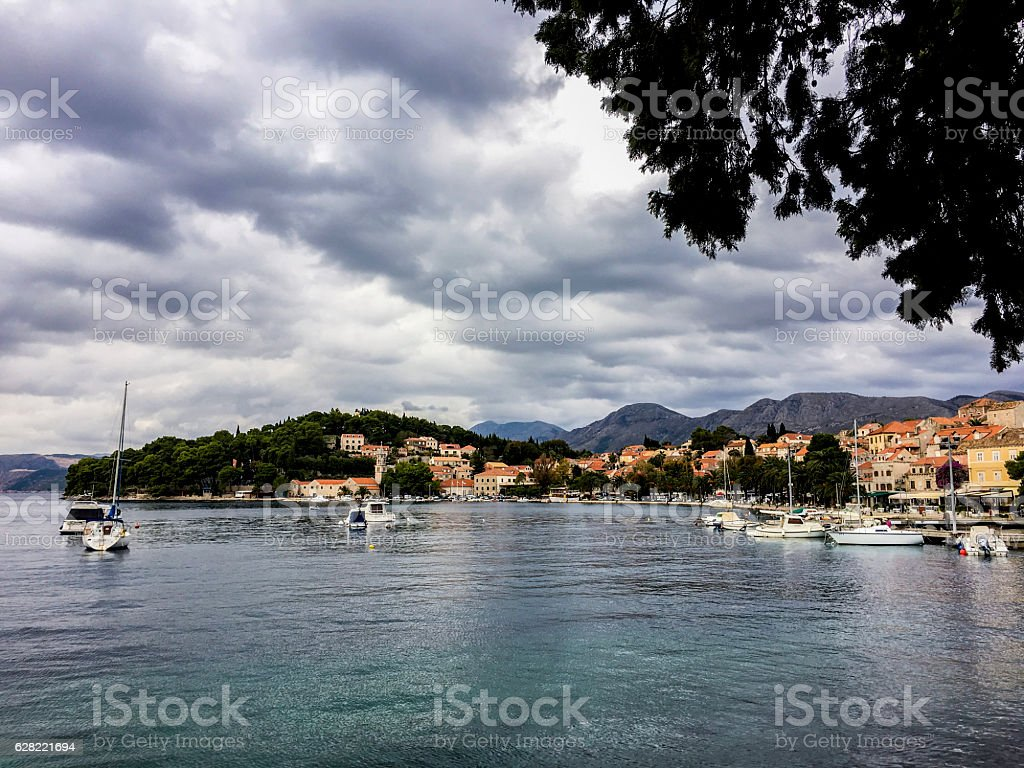 Luka Bay and Cavtat Old Town_Croatia stock photo