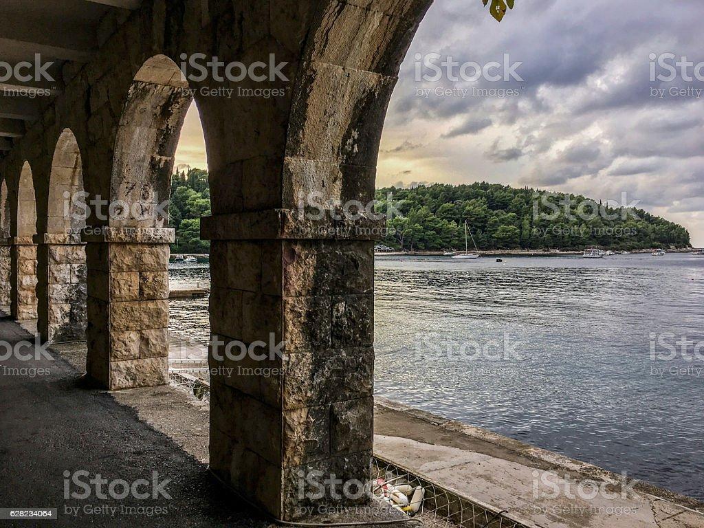 Luka Bay from Cavtat Rectors Palace stock photo