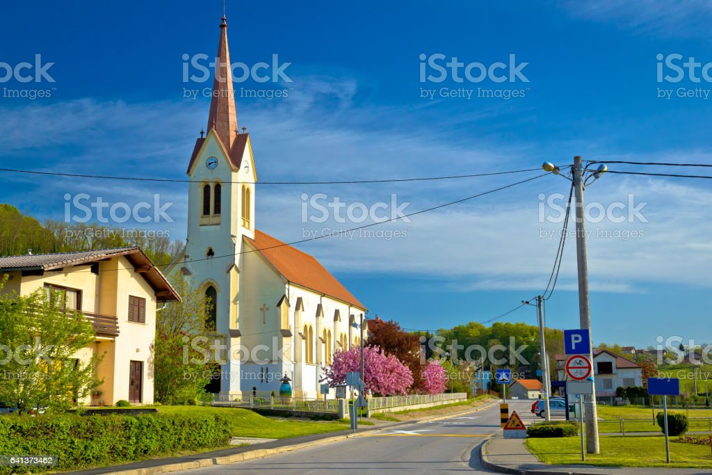 Luka village near Zapresic view, northern Croatia stock photo