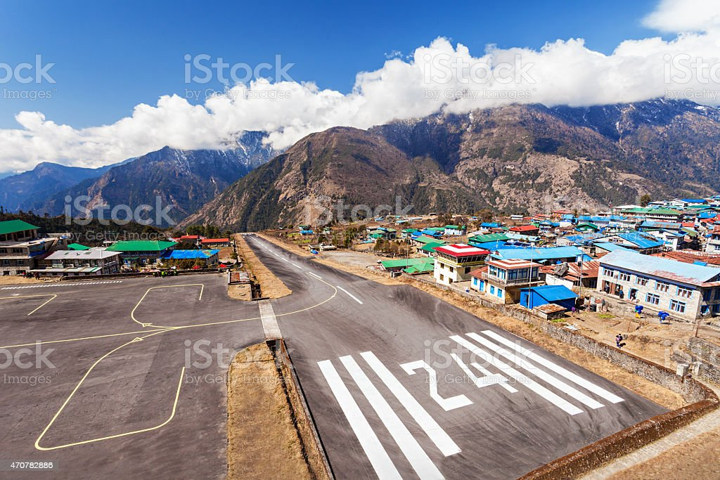 Lukla airport stock photo