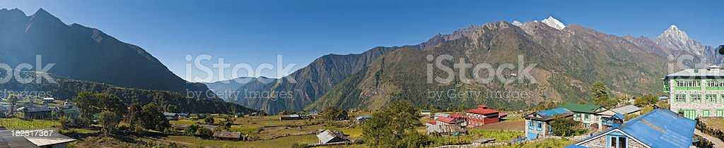 Lukla Nepal village start Everest Base Camp trail Himalaya panorama royalty-free stock photo