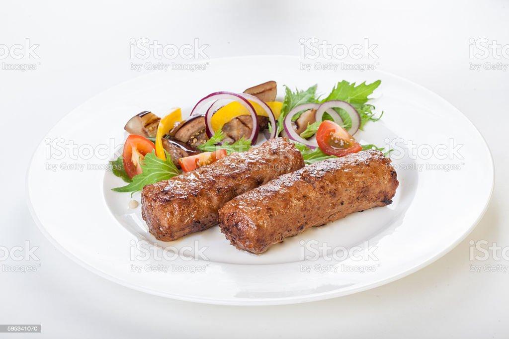 lula kebab with vegetables fresh white background isolated Beautiful stock photo