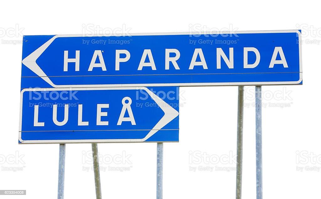 Lulea and Haparanda signpost stock photo