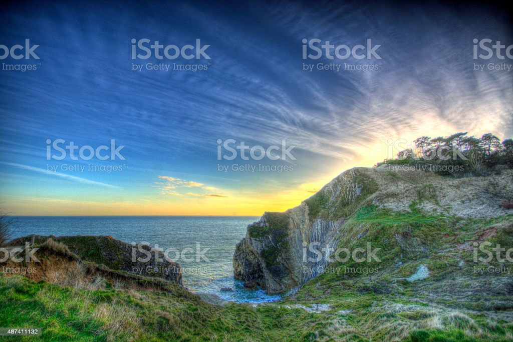 Lulworth Cove at sunset stock photo