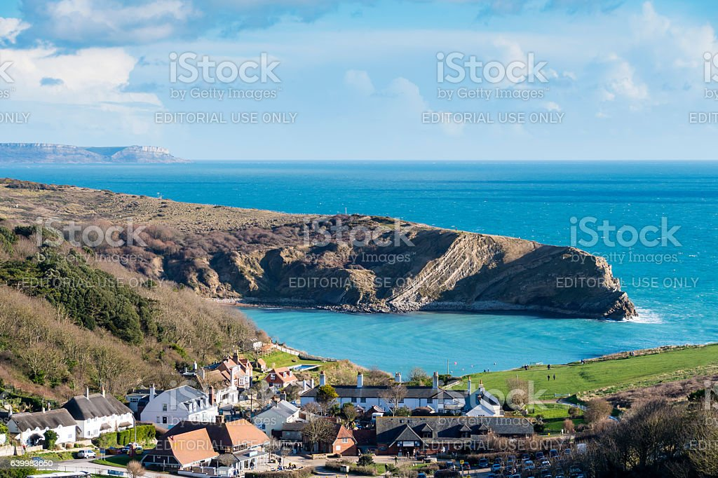 Lulworth Cove Bay and Village stock photo