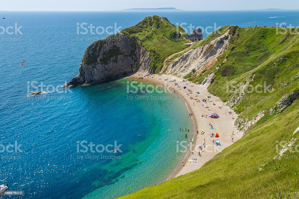 Lulworth Cove in Cornwall, England stock photo