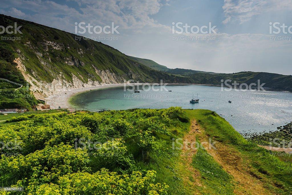 Lulworth Cove in Dorset coast, UK stock photo