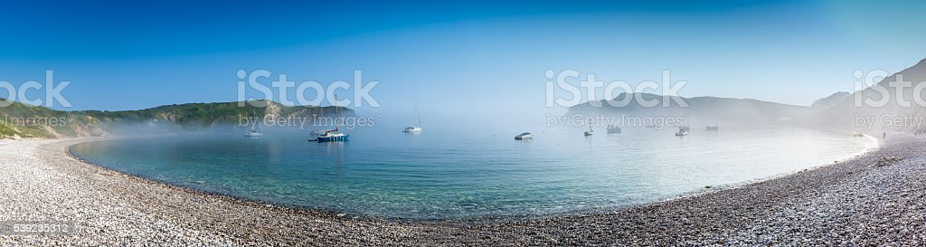 Lulworth Cove in the mist stock photo