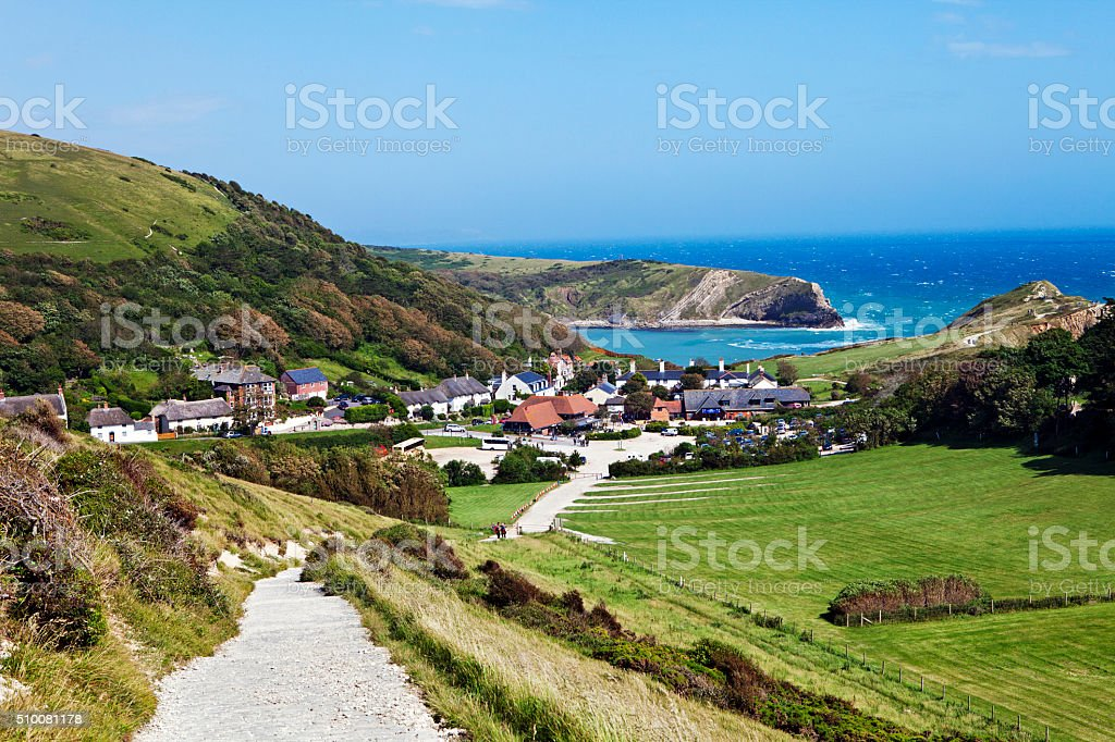Lulworth Cove, the view from the Coastal Path, stock photo
