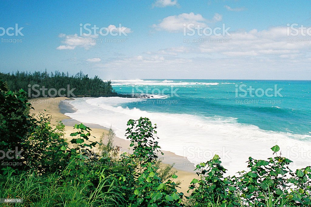 Lumahai beach, Pacific ocean bay and on Kauai Hawaii stock photo
