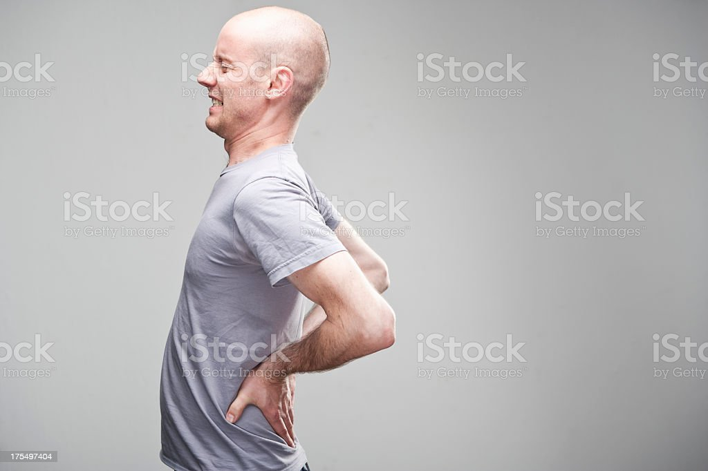 Lumbar back pain. stock photo