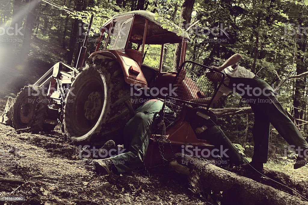 lumbejacks worker in the logging industry royalty-free stock photo