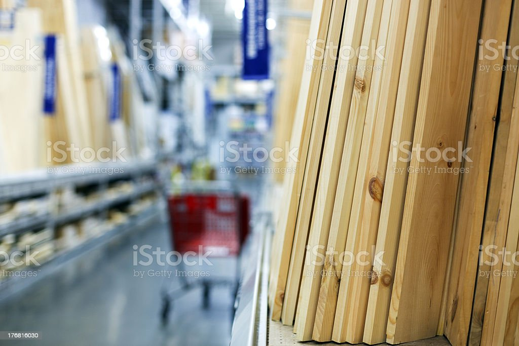 Lumber aisle at a hardware store stock photo