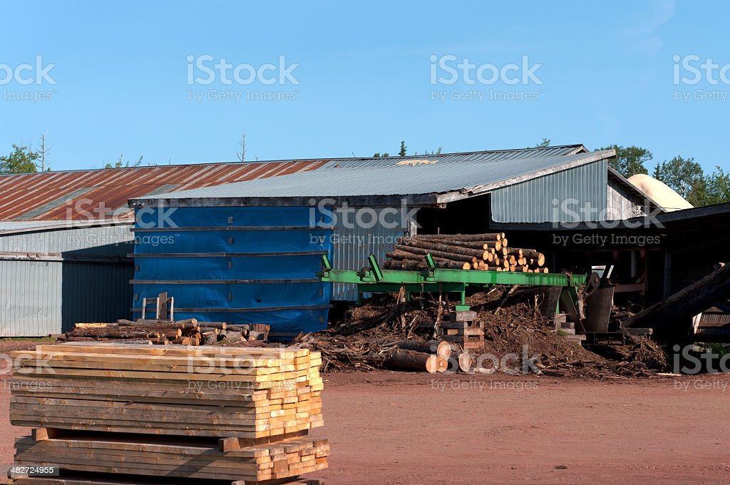 Lumber by Sawmill royalty-free stock photo