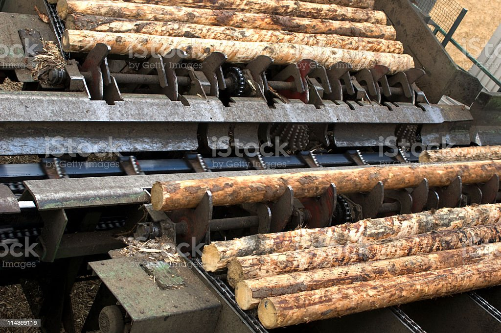 Lumber industry - woodworking in saw mill stock photo