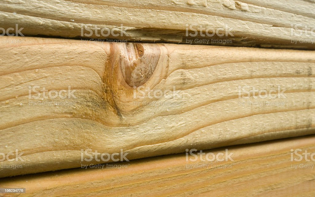 Lumber Knot on Boards Stacked Up Close in Wood Grain royalty-free stock photo