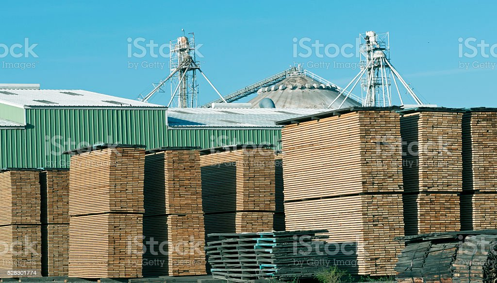 Lumber stacked at sawmill in Clarkston WA stock photo