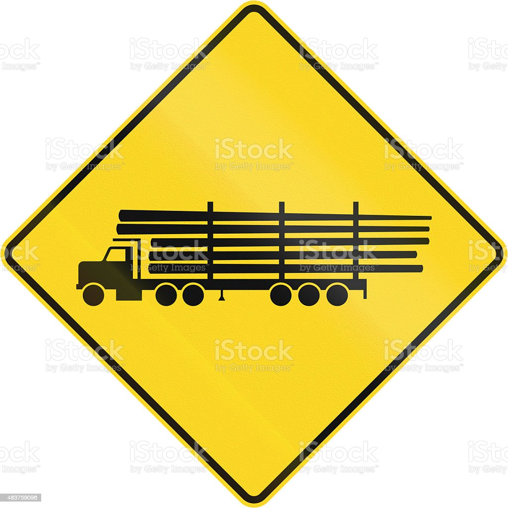 Lumber Truck Crossing in Canada stock photo