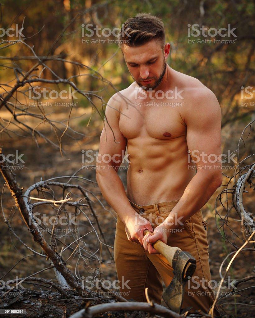 Lumberjack chop branches. stock photo