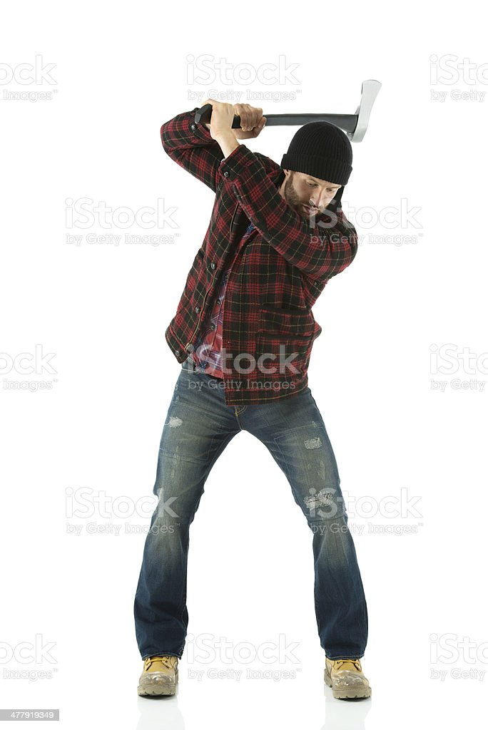 Lumberjack holding an axe royalty-free stock photo
