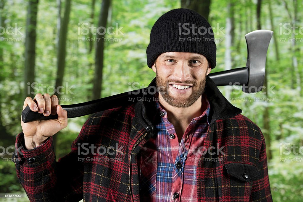 Lumberjack in a forest royalty-free stock photo