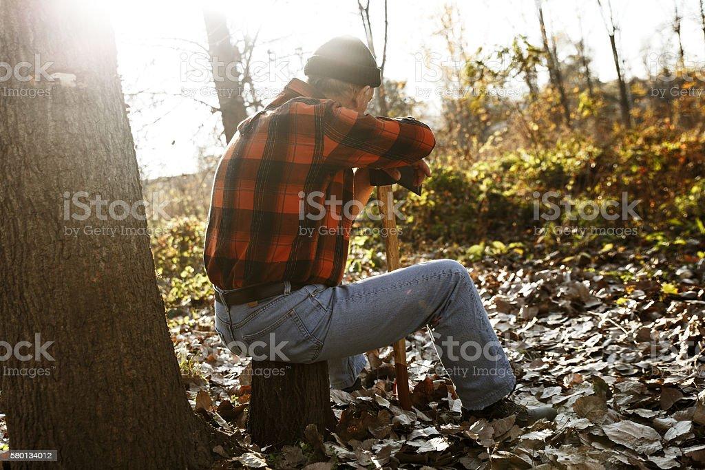 Lumberjack in nature stock photo
