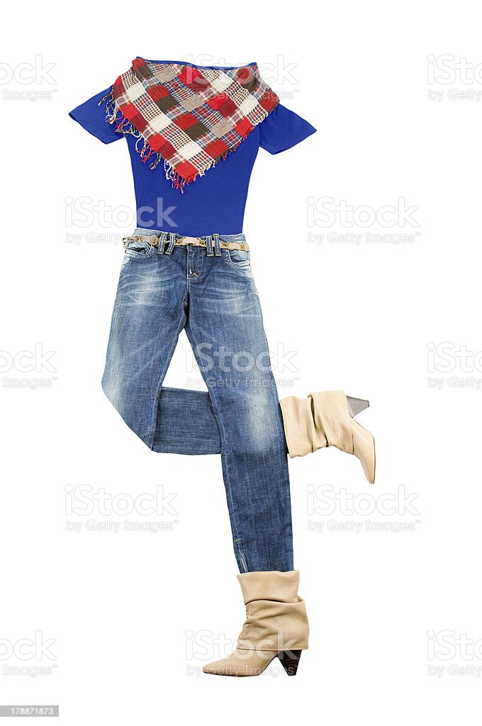 Lumberjack jeans and t-shirt fashion look stock photo