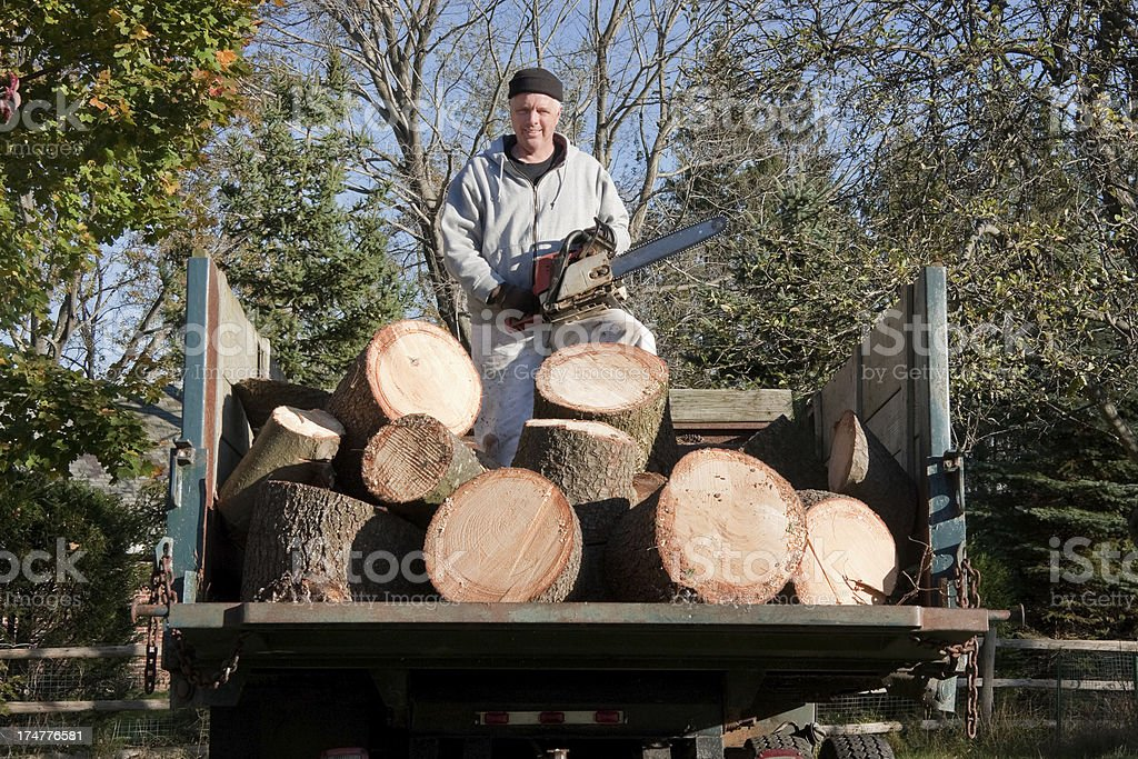 lumberjack with chainsaw in back of a dump truck royalty-free stock photo