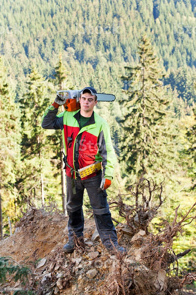 Lumberjack with chainsaw stock photo