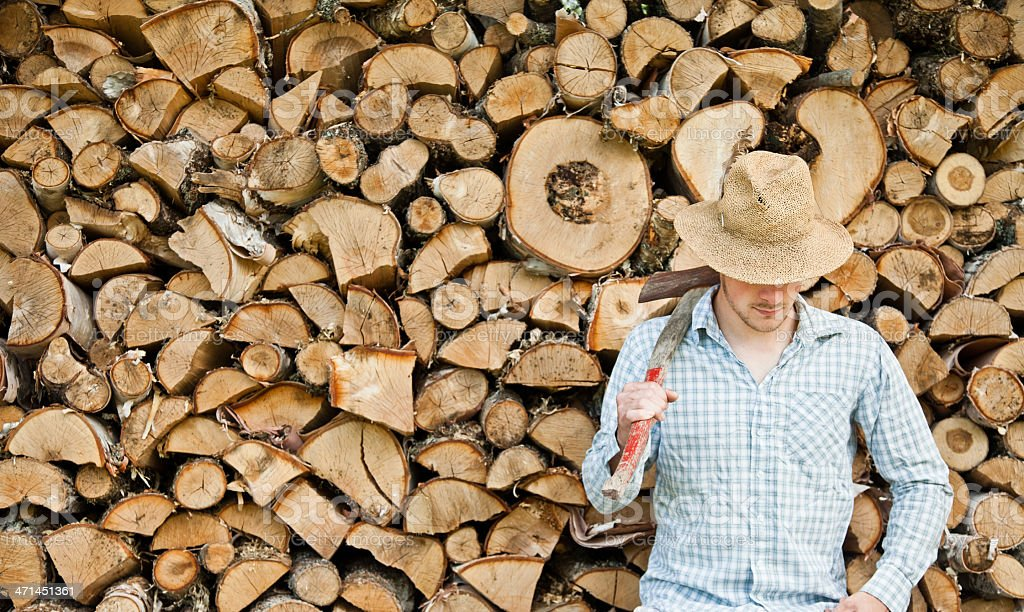 lumber-men looking down stock photo