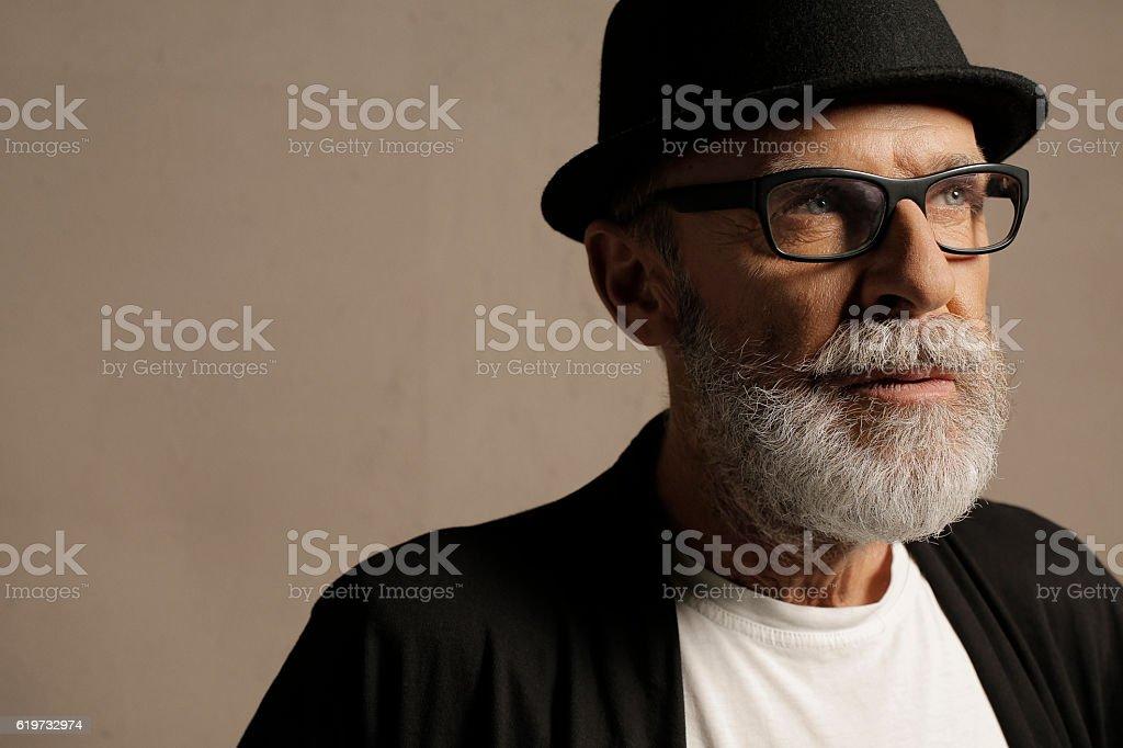 Lumbersexual  Bearded  Senior men hipster stock photo