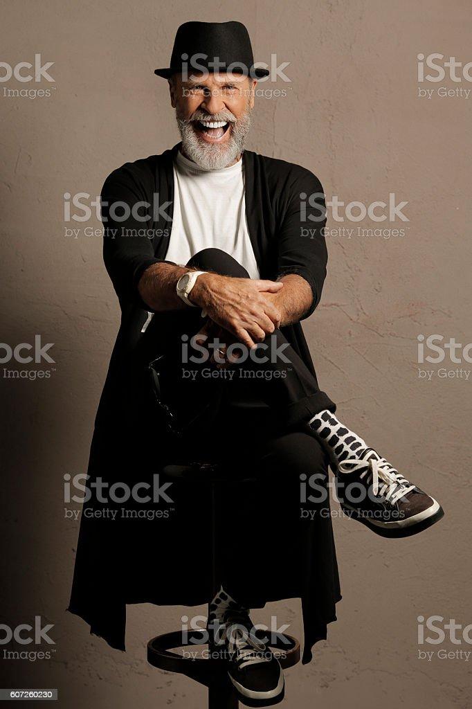 Lumbersexual  Bearded  Senior men hipster  portrait stock photo