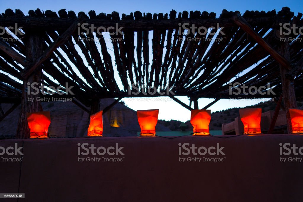Luminarias on a wall stock photo