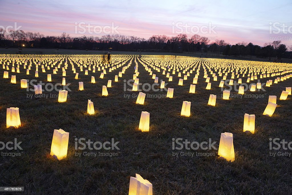 Luminaries to commemorate the Civil War Battle of Franklin stock photo