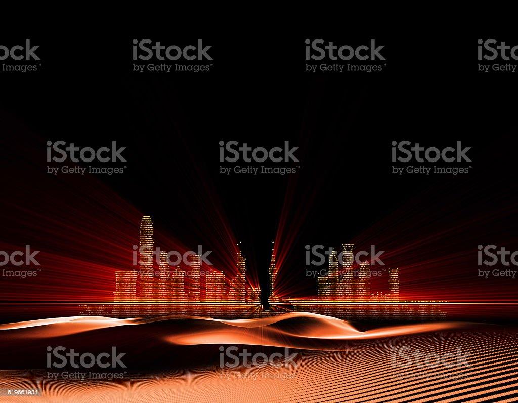 Luminous desert inside the buildings stock photo
