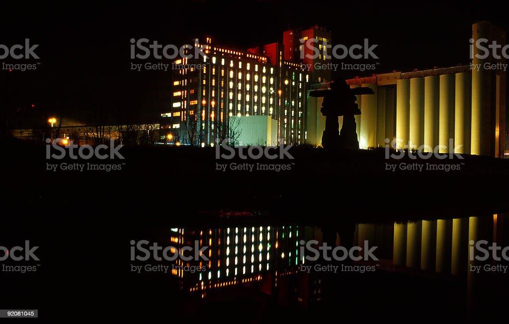 Luminous factory and silos royalty-free stock photo