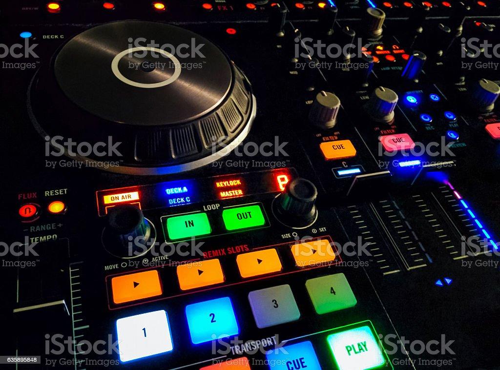 Luminous panel, sound music mixer control . stock photo